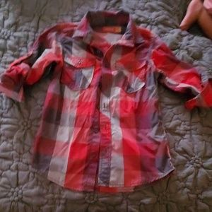 Boys button up shirt red camel